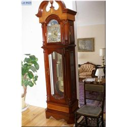 Modern quality triple train Millennium Edition long cased clock with decorative weights and pendulum