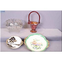 A selection of collectibles including silver overlay dish, a Imperial red glass handled basket, smal