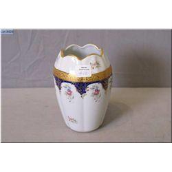Limoges vase with floral motif and 22kt gold decoration