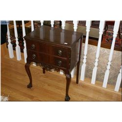 Two drawer mahogany floor standing flatware chest made by Gibbard