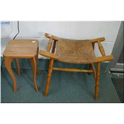 Small wooden stool with rush seat and a small wooden drinks table