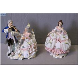"""Two marked Dresden figurines including a musical couple and a lady figurine, 7 1/2"""" in height"""