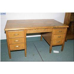 Seven drawer double pedestal desk