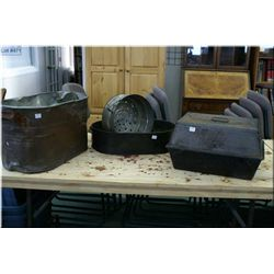 """Selection of primitive collectibles including antique lidded roasters marked """"Black Beauty"""", double"""