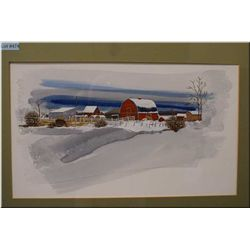 """Framed original watercolour """"Snow bound"""" by local Canadian artist Rafe McNabb 17"""" X 10"""""""