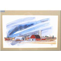 "Framed original watercolour ""Blue Farm No. 4"" by local Canadian artist Rafe McNabb 16"" X 10"""