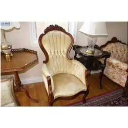 Pair of Victorian style parlour chairs with floral back decoration and channel back upholstery