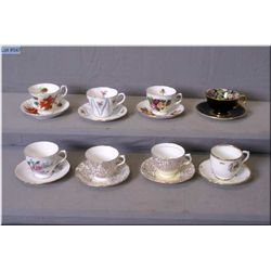 """Eight china cups and saucers including Royal Winton chintz """"Best Gold"""", Royal Albert etc."""