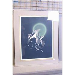 "Framed limited edition print ""Dusky Howl"" pencil signed by artist Beaver 88/100"