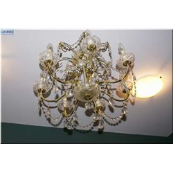 Semi contemporary seven branch chandelier with lustres