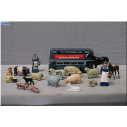 A selection Britains metal farm animals and a Corgi RAF double decker bus