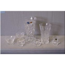 A selection of glassware including five pieces of Edinburgh crystal, and two vases including one mar
