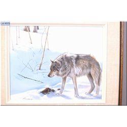 "Framed original oil on canvas painting ""Grey Wolf"" by Canadian artist Maurade Baynton 16"" X 20"""