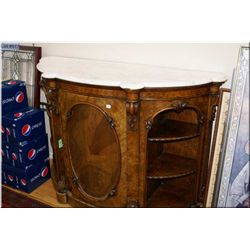 Antique burl walnut marble topped flat to the wall cabinet with scroll decoration, carved foliage an