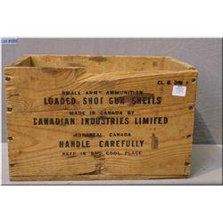 A wooden CIL ammunition/shot gun shell crate