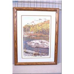 """Framed limited edition print """"Fall Shoreline"""" signed in pencil by artist E. Robert Ross. 469/950"""