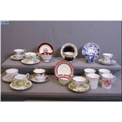 A selection of collectible tea cups and saucers including Royal Albert, Aynsley, Royal Crown Derby,