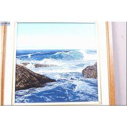 "A framed original acrylic on board painting ""Waves #2, Botanical Beach, Port Renfrew, Vancouver Isla"