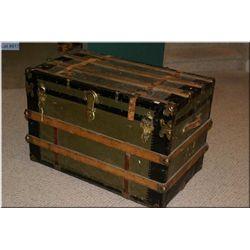 Antique flattop oak bound steamer trunk with leather straps