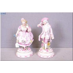 """A pair of antique Huebach porcelain figurines 10 1/2"""" in height"""