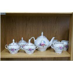 "A set of 34 ""China Garden"" dinner plates plus a Sonata china tea service including tea pot, three li"