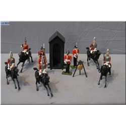 Five Britains mounted metal soldiers and four figures including Steadfast Gloucester regiment plus s