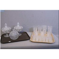 Two lidded pinwheel crystal comports, a lidded crystal candy dish and assorted vintage crystal glass