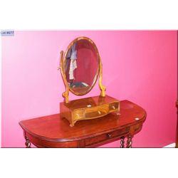 Semi contemporary mahogany free standing vanity mirror with three drawers