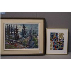 """A framed original oil on canvas painting of a forest scene signed by artist Paul Braid 11"""" X 15 1/2"""""""