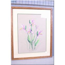 "Framed original pastel on paper of a floral still -life signed by artist D.W. Grimes 15"" X 20"""