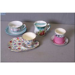 A Royal Winton chintz cup and lunch plate, a moustache mug and cup and saucers etc.