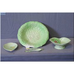 A selection of vintage collectibles including Royal Winton cabbage leaf serving dish and two small C