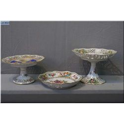 A selection of three Dresden dishes, all pierced some hand painting