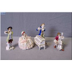 Four German Dresden figurines including piano and flute player, cello player, etc.
