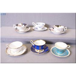 Selection of teacups and saucers including Aynsley, Coalport, Paragon, Spode, etc.