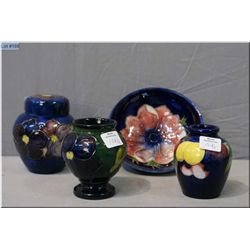 """Four pieces of Moorcroft pottery including low comport, two vases and a 4 1/2"""" ginger jar"""