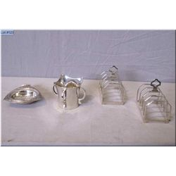 Selection of sterling silver including two British hallmark toast racks, four handled cup and a ster