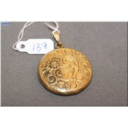 Lady's yellow gold filled heavily chaised locket