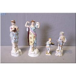Pair of antique porcelain figurines and an unmarked figurine and a small Meissen figurine