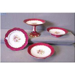 Antique porcelain dessert set with handle painted detail and gilt decoration including comport, two