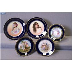 Selection of French porcelain including two Limoges portrait plates and three Chateau Des Tuileries