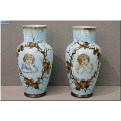 """A pair antique hand painted bristol glass vases featuring Victorian children's portraits 10 1/2"""" in"""