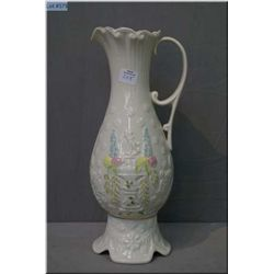 """Large Belleek """"Eros"""" pitcher with hand painted and gilt decoration 13"""" in height"""