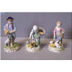 Three antique figurines including two Dresden and one Capodimonte