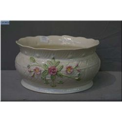 """Large Belleek """"McBirney"""" center piece bowl, 9 in diameter and 4 1/2"""" in height"""