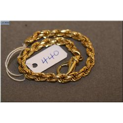 Lady's 14kt twisted yellow gold and box link rope style bracelet