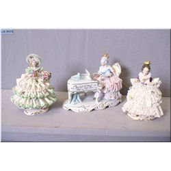 Three German Dresden figurines including piano player