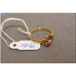 Lady's 18kt yellow gold, ruby and diamond ring