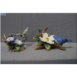 Two floral bird figurines marked Andrea