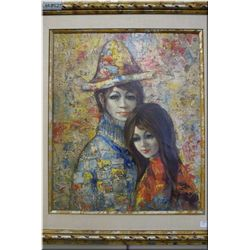 A framed original oil on canvas painting of two figures signed by artist N.S. Seen, 23 1/2  X 19